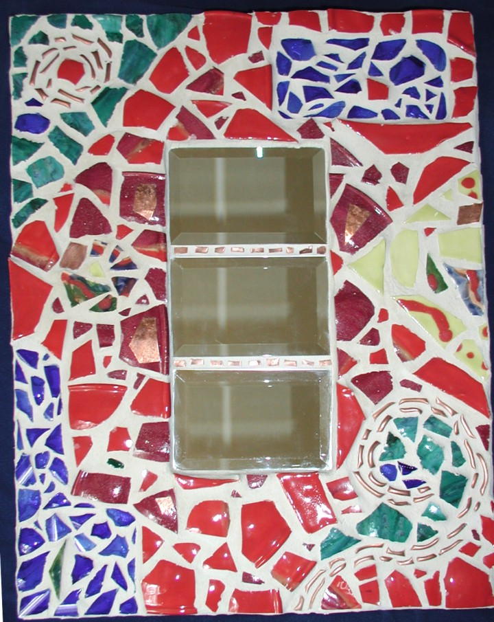 Mosaic Mirror - ceramic, glass, copper