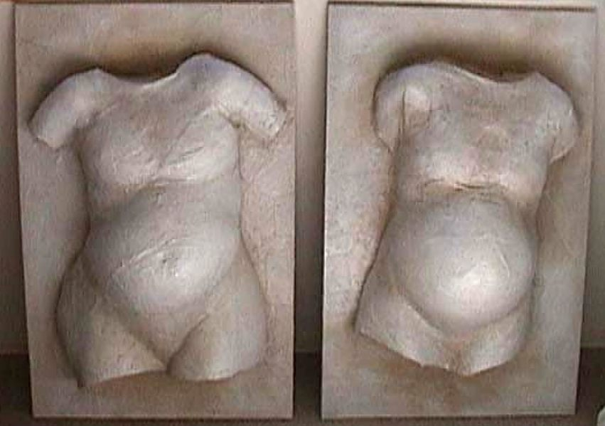 Sonja 33 weeks & Sonja 38 weeks - 2000 - plaster cast on canvas